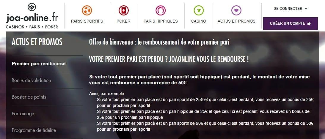 Bonus Joa Online : 150€ offerts