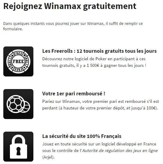 S'inscrire sur Winamax