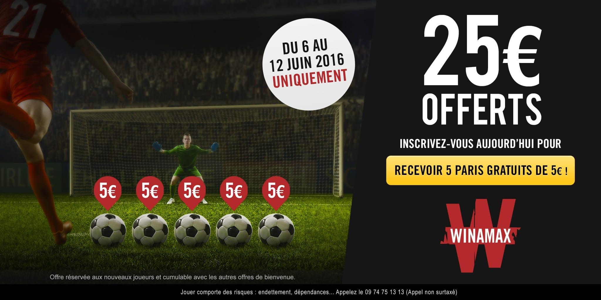 25€ de paris gratuits chez Winamax pour l'Euro 2016