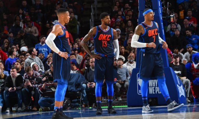 Le trio de star d'OKC en place lors d'un match NBA