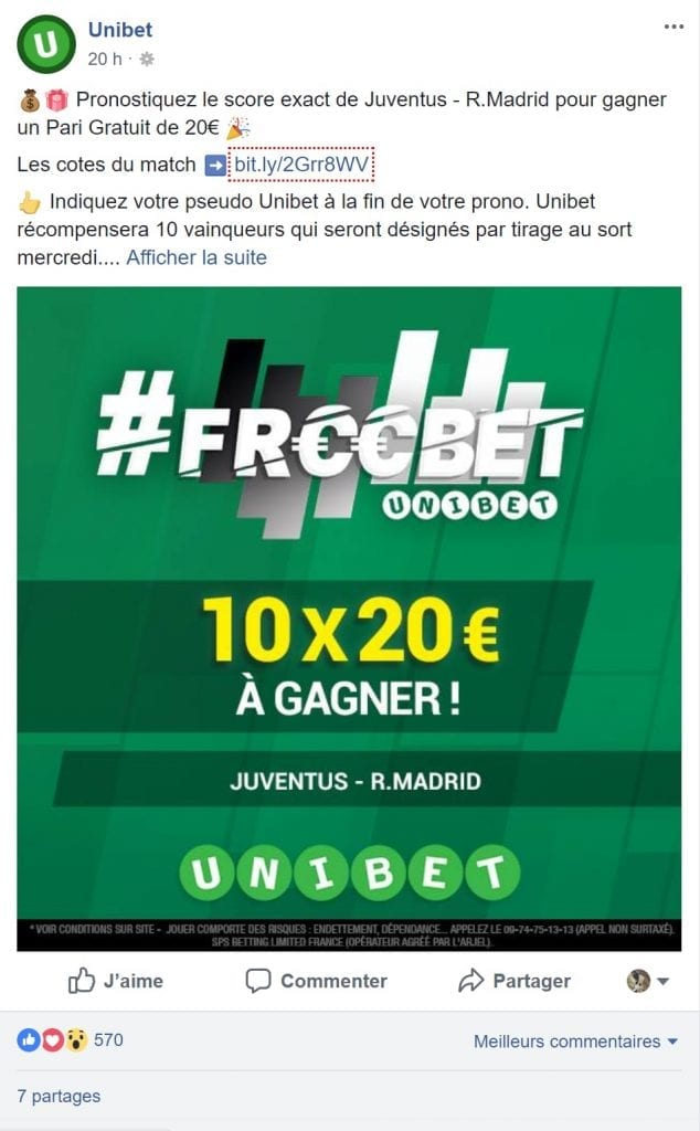 Freebet sur Unibet & Facebook