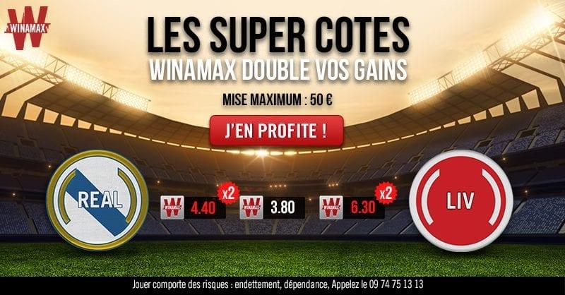 Super cotes : Winamax Double vos Gains