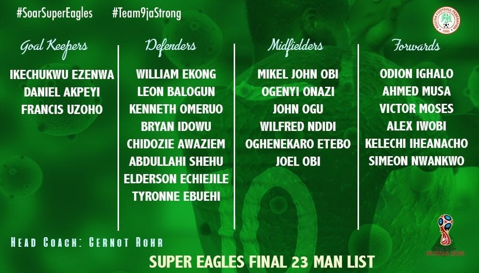 23 joueurs du nigeria pour la coupe du monde 2018