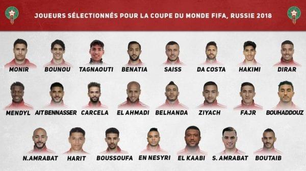 Liste 23 joueurs Maroc Coupe du Monde 2018