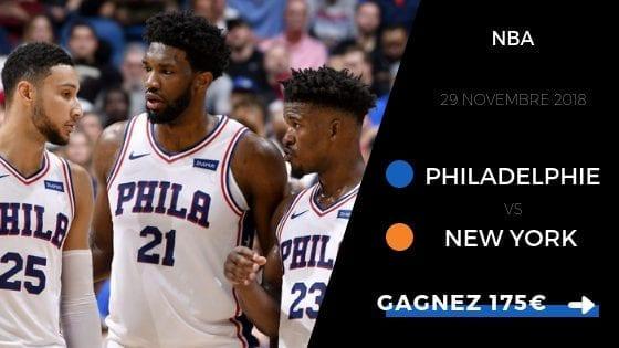 Pronostic Philadelphie 76ers vs New York Knicks 2018 2019
