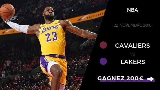 Pronostic Cleveland Cavaliers vs Los Angeles Lakers 22 novembre 2018